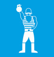 strong man with kettlebell icon white vector image