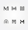 Various letter m big logo typo pack vector image