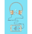 Flat linear smartphone and headphones vector image