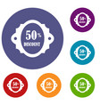 sale label 50 percent off discount icons set vector image