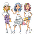 set of cute fashionable girls vector image