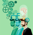 business man and brain gears in progress vector image