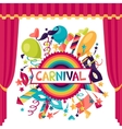 Celebration festive background with carnival icons vector image
