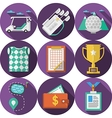 Circle flat icons for golf vector image