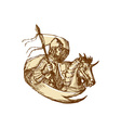 Knight On Horse Holding Flag Drawing vector image vector image
