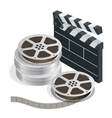 Cinema with film movie tape disks in boxes and vector image