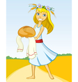 Girl with bread vector image