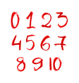 hand drawn red chalk numbers set vector image