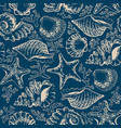 seamless pattern seashells starfish and corals vector image