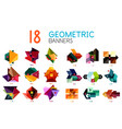 set of abstract geometric shapes and icons vector image