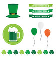 set of st patricks day flat design elements icons vector image