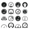Speedometer icons set black simple style vector image
