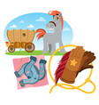 wild west wagon horse lasso and horseshoes vector image
