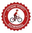 downhill extreme sport emblem vector image