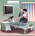 Parents with sick boy lying in a medical bed vector image