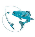 fish jumping for bait and fishing rod vector image vector image