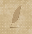 Vintage feather on grunge background vector image