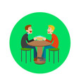 two happy male drinking beer in bar vector image