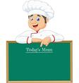 Cartoon chef cloche pointing at menu board vector image