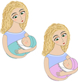 A woman with a baby vector image