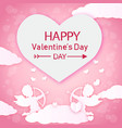 happy valentines day arrow white cupid pink backgr vector image