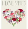 I love spring heart background vector image