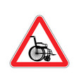 warning invalid sign caution wheelchair on road vector image