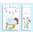 Winter sale banner with cute girl vector image