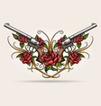 two guns and rose flowers drawn in tattoo styl vector image vector image