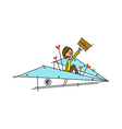 A boy with paper plane vector image
