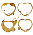 Heart shaped coffee cup stains vector image
