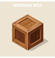 Closed wooden box isometric vector image