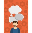 man with speech bubbles and gear pattern vector image