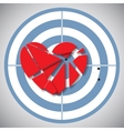 Red heart broken into pieces on the blue target vector image