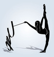 Silhouette gymnast vector image