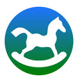 horse toy sign  white icon in bluish vector image