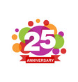 25th anniversary colored logo design happy vector image