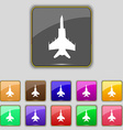 fighter icon sign Set with eleven colored buttons vector image