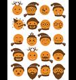 icons set 20 smiles winter orange vector image vector image