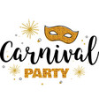 carnival party template design with glitter gold vector image