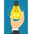Glowing yellow light bulb after being turned on vector image