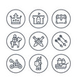 medieval war line icons in circles on white vector image