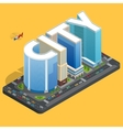 Modern high quality city building Isomeric flat vector image