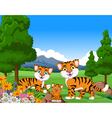 tiger cartoon family in the jungle vector image
