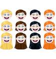 Cute Girl Heads Set vector image