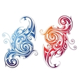 Fire and water themed swirls vector image