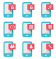 mobile phone with icons vector image vector image