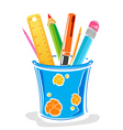 pens and pencils in box vector image vector image