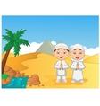 Cartoon Muslim kids with pyramid background vector image