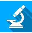 Microscope Flat Long Shadow Square Icon vector image